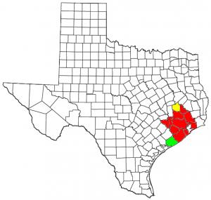 Mapa del estado de Texas con el Área Estadística Metropolitana Combinada de Houston–Baytown–Huntsville CSA y sus componentes: Área Estadística Metropolitana de Houston–Sugar Land–Baytown MSA Área Estadística Micropolitana de Huntsville µSA Área Estadística Micropolitana de Bay City µSA
