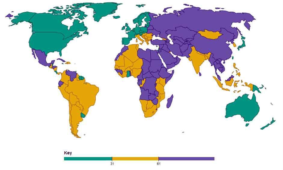 Mapa de libertad de prensa en el mundo. Verde (libre), amarillo (parcialmente libre), púrpura (sin libertad). Imagen Freedom House.